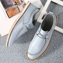 Hipsteria - Faux Leather Lace-Up Casual Shoes