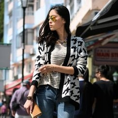 SO Central - Open-Front Houndstooth Cardigan