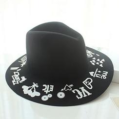 EVEN - Contrast Printed Woolen Fedora Hat