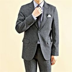 THE COVER - Single-Breasted Pinstriped Blazer