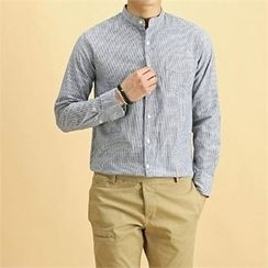 THE COVER - Mandarin-Collar Pocket-Front Striped Shirt