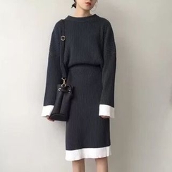 monroll - Set: Color Panel Sweater + Midi Knit Skirt