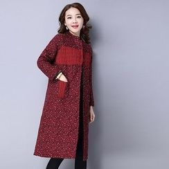 Jolly Club - Long-Sleeve Printed Paneled Buttoned Coat