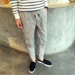 Besto - Plain Slim-Fit Pants