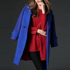 Mythmax - Wool Blend Paneled Buttoned Coat