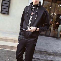 Besto - Set: Lettering Hooded Jacket + Sweatpants