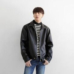 Seoul Homme - Zip-Up Faux-Leather Jacket
