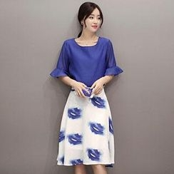 Romantica - Set: Elbow-Sleeve Ruffled Top + Printed Skirt