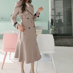 Hello sweety - Double-Breasted Ruffle-Hem Trench Coat