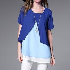 Mythmax - Short-Sleeve Color-Block Top
