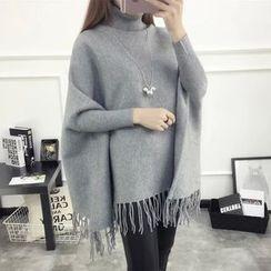 Acoustic Rain - Fringed Hem Dolman-Sleeve Turtleneck Sweater