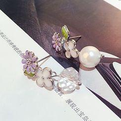 Jemai - Flower Non-Matching Earrings