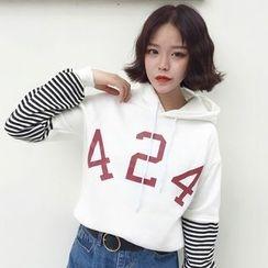 RASA - Number Print Striped Sleeve Hoodie