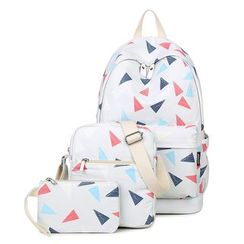 VIVA - Set of 3: Triangle Print Backpack + Crossbody Bag + Pouch
