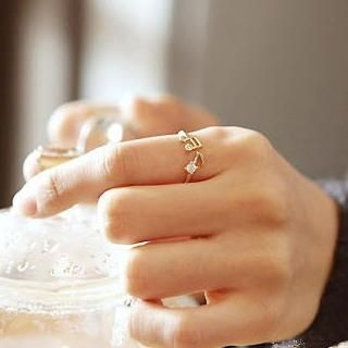 Cuteberry - Rhinestone Musical Note Ring