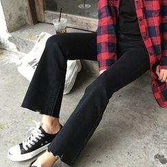 TriStyle - Boot Cut Raw Hem Jeans
