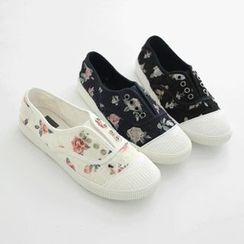 JUSTONE - Toe-Cap Floral Canvas Sneakers