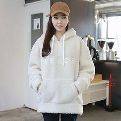 Envy Look - Hooded Zip-Neck Fleece Pullover