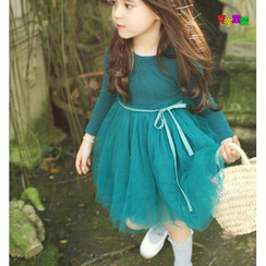 Cuckoo - 小童纯色长袖薄纱连衣裙