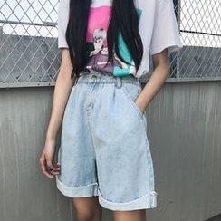 VeryBerry - Plain High Waist Denim Shorts