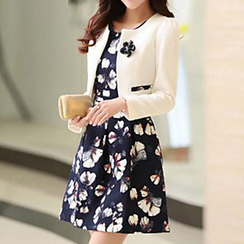 lilygirl - Set: Cropped Jacket + Sleeveless Floral Dress