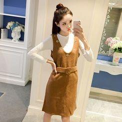 Phyllis - 套裝: 長袖T恤 + 針織背帶裙