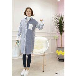 Lemite - Pocket-Front Striped Shirtdress