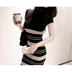 Marlangrouge - Short-Sleeve Striped Knit Bodycon Dress