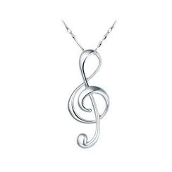 BELEC - Romantic 925 Sterling Silver Musical Note Pendant and Necklace