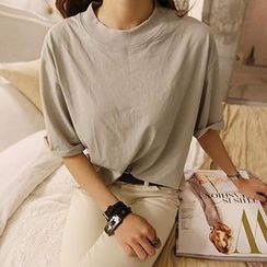 NANING9 - Cuffed Elbow-Sleeve T-Shirt