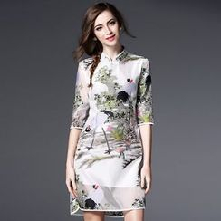 Elabo - 3/4-Sleeve Embroidered  Cheongsam