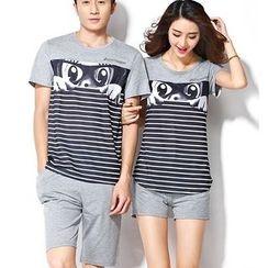Lovebirds - Set: Couple Striped T-Shirt + Shorts