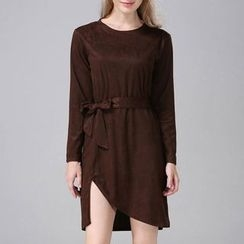 Isadora - Faux Suede Tie Waist Long-Sleeve Dress