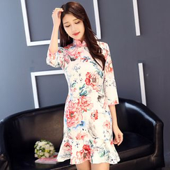 Montebelle - Floral Print Elbow Sleeve Cheongsam