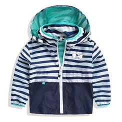 lalalove - Kids Striped Hooded Windbreaker