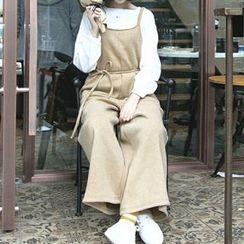 Miss Kekeli - 纯色宽腿背带裤