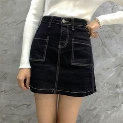 Octavia - Stitch Detailed Mini A-Line Denim Skirt