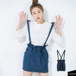 CatWorld - Denim Suspenders Skirt