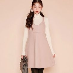 chuu - Wool Blend High-Waist Jumper Dress