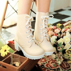 Pastel Pairs - Faux Leather Block Heel Short Boots