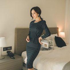 Dimanche - 套装: 细条纹长袖上衣 + 铅笔裙