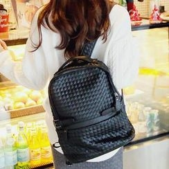 REDOPIN - Faux-Leather Woven Backpack