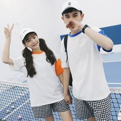 Evolu Fashion - Two Tone Short-Sleeve Couple Matching T-Shirt
