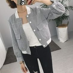 Eva Fashion - Pinstriped Pocketed Jacket