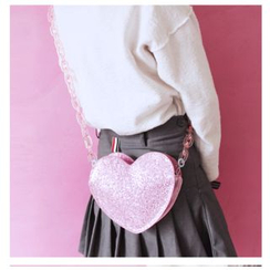 Bags 'n Sacks - Glittered Heart Shaped Crossbody Bag