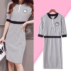 Isadora - Pinstriped Elbow-Sleeve Knit Dress