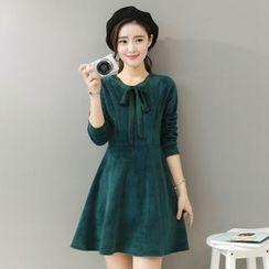 EFO - Long-Sleeve Tie-Neck Velvet Dress