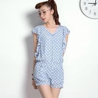9mg - Polka-Dot Ruffled Playsuit