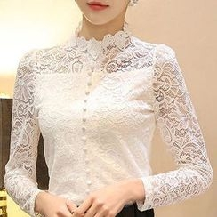Eferu - Lace Stand Collar Long-Sleeve Top
