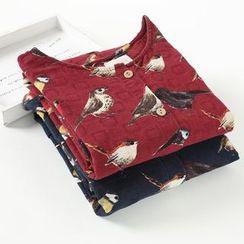 Rosadame - 長袖小鳥印花飾鈕釦連衣裙